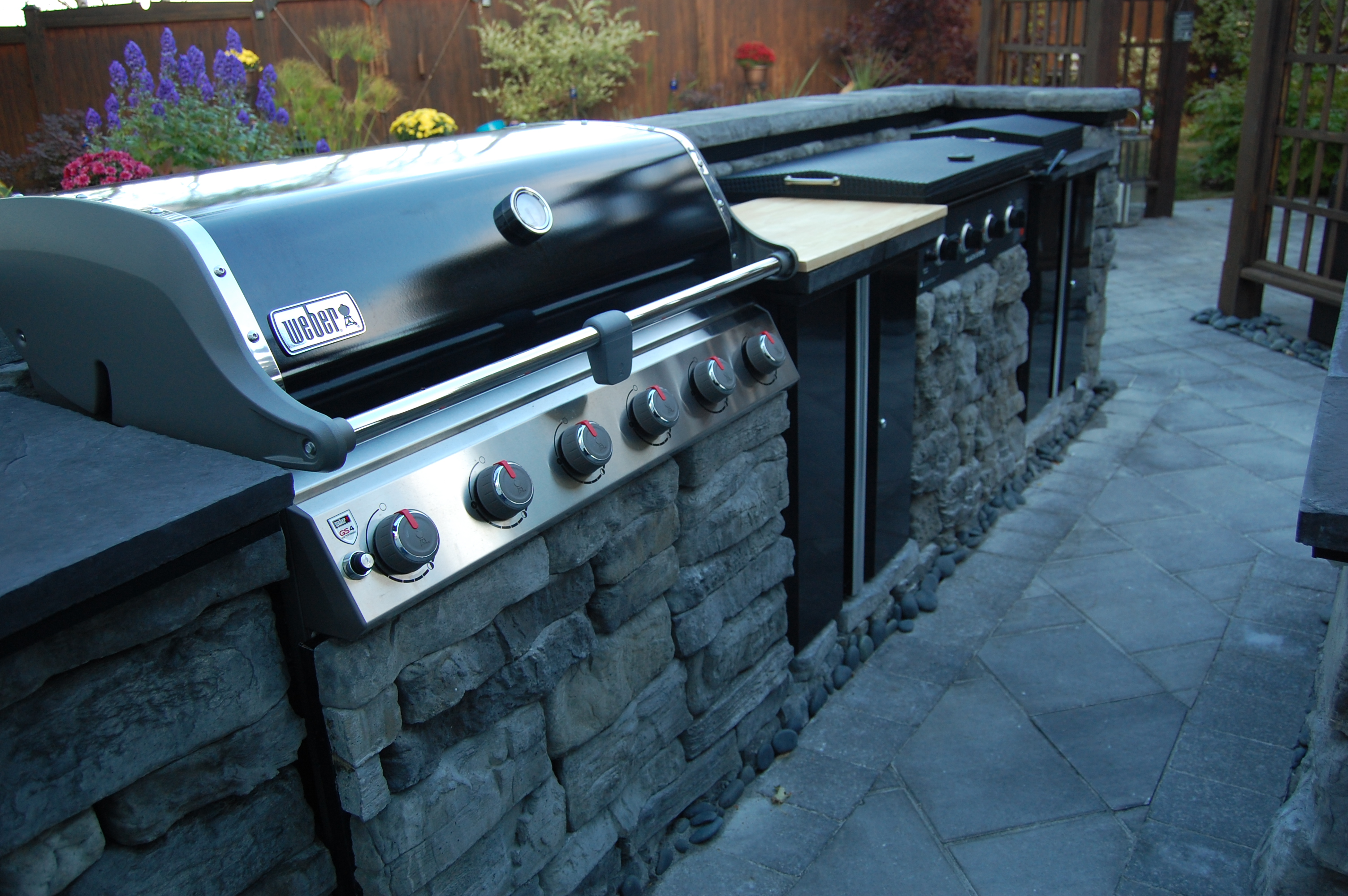 BBQ built into stone counter-top